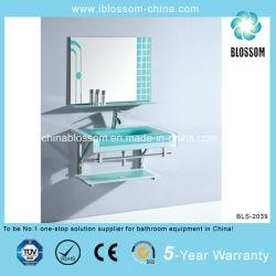 El cuarto de baño de cristal templado de vanidad lavabo con espejo (BLS-2039)