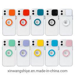독특한 TPU 슬라이딩 윈도우 카메라 렌즈 보호 전화 케이스 여성용 iPhone 11 PRO/12 Mini/12/12 PRO용 패션 휴대폰 덮개