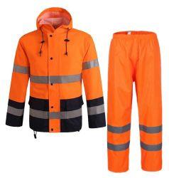고가시성 맞춤형 오렌지 공장 가격 라이닝 PVC 도장 안전 방풍 방수 레인 코트로 성인용