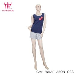 여자의 소매 없는 Top+Shorts 한 벌, 100%Cotton