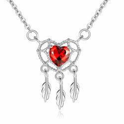 여자의 빨간 수정같은 보석 낭만주의 925 순은 Heart-Shaped 펀던트 목걸이를 매혹하는 형식 발렌타인 데이 선물