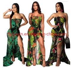女性の水着のシフォンは隠す浜のサロンのPareoのビキニの水着の覆いのスカートの服を印刷した