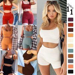 L'usine OEM transparente striée de la sueur Costumes sexy femmes Vêtements sports Activewear Fitness, 2 pièces Soutien-gorge rembourré pour le Yoga et de shorts athlétiques d'entraînement de l'usure
