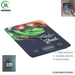 Báscula de cocina electrónica de vidrio templado con la impronta de la moda