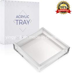 Comercio al por mayor Custom acrílico transparente que sirve en bandeja con asas para café/té/desayuno/comida/Snacks