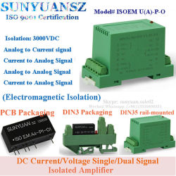 Para carril DIN de tensión/corriente DC 4-20mA/0-5 V/aislamiento DIN Trasnmitter 0-10V1X1 Isoem U (A) -P-O.