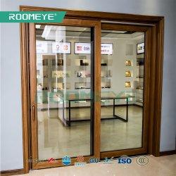 Elevación de aluminio de madera puerta corredera deslizante para trabajo pesado de la puerta del Patio con cristal templado