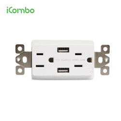 Wir Wand-Kontaktbuchse-Anschluss mit der USB-Steckdose, die mit Typen c-Kanal mit UL genehmigt auflädt