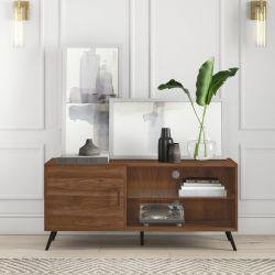 Sala Escura Acorn Suporte de TV de madeira com prateleira de vidro para Tvs de até 58 polegadas