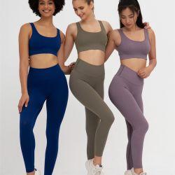 Personalisierbare Sportbekleidung Fitness Sexy Yoga Set Crop Top Bh Damen Leggings Jogger Running Ribbed Sportswear Nahtlose Damen Athletic/Gym/Yoga/Sportbekleidung