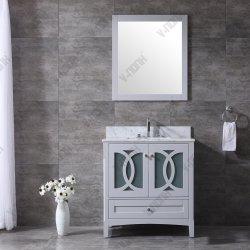 Madera maciza de 36 pulgadas gris mate baño duradero la vanidad, Muebles de Baño