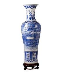 Decorativos clássico azul Chinês Artesanato Branco Porcelana vaso de cerâmica