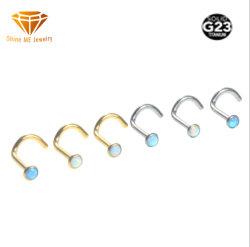 高品質G23のチタニウムの熱い販売のOpal鼻は純粋なチタニウムの人体の刺すような鼻の宝石類Tp2913をネイリングする