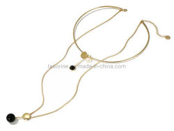 Le plus moderne Fashion Choker plaqué or Collier Collier en métal simple couche Collier pendentif Howlite