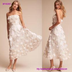 3D blüht trägerloses Tee-Länge Hochzeits-Kleid