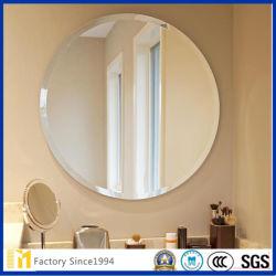 Round polido biselada Espelho de Parede sem caixilho com ganchos para banheiro