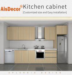 Buen precio Hotel Apartamento Proyecto utilizan modernos de madera laminada de melamina modulares gabinetes de cocina