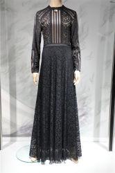 Vêtement Ankle-Length noir islamique de belles femmes de la dentelle robe de cocktail robe de fête de la mode musulmane