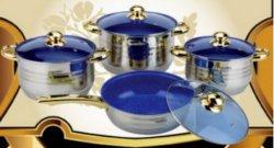 8 die PCs Cookware met Goud Geplateerde Montage wordt geplaatst