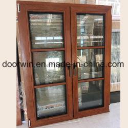 Fenêtre en bois véritable pur avec cher le chêne rouge et le verre trempé