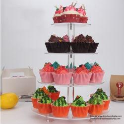 Rodeareis Claro Tier 4 Suporte de bolo de casamento Cupcake Acrílico Suporte sobremesa titular de exibição