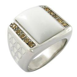 Los anillos de Piedra Grande de cerámica blanca anillo de acero inoxidable