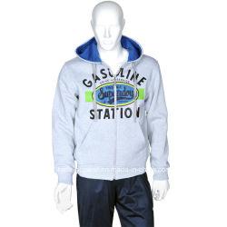 Mens de vento cheio em formato Zip jaqueta de velo cinza