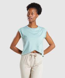 패션 MIDI 길이 라이트 그린 프린팅 크로스오버 프론트 캡 슬리브 여성용 티셔츠