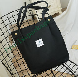 Form-schwarzer natürlicher kundenspezifischer Einkaufen-Ebenen-Großverkauftote-Segeltuch-Baumwollluxuxbeutel