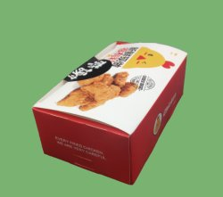 In het groot gedrukt gerecycled Bruin papier Chicken Wing Fried Chicken dozen Neem Hot Fast Box Ecomodriendly Food Packaging uit