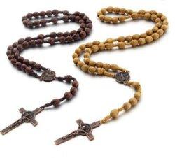 عقد روستيكي مع الصليب المسيحي اليدوي الصنع عقد الصليب الخشبي قلادة