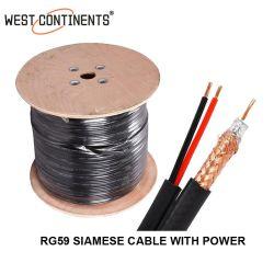 Chinese kabel 0,81 mm 20 AWG koperen geleider RG59 coaxkabel met Voedingskabel