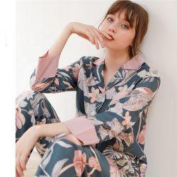 Mulheres Pajama 2020 Primavera e Outono novos Leisure Cardigan de Manga Longa de lapela Home roupas adequadas de Duas Peças