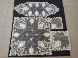 Mesa de comedor bordado Organza Placemats Runner con decoración para bodas
