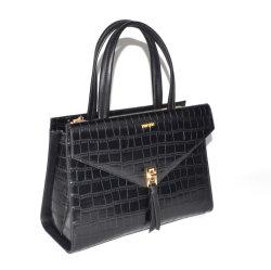 نمو تصميم أسود لون سيادات حقيبة يد تمساح [بو] جلد حقيبة حقائب
