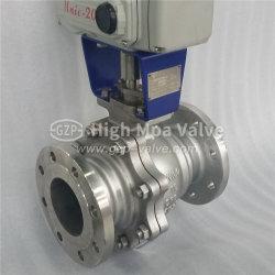 API/Astem/ANSI/BSの空気か電気鋳鉄か油圧2PCフランジの終わりの浮かぶか、または減らされた穴の球弁