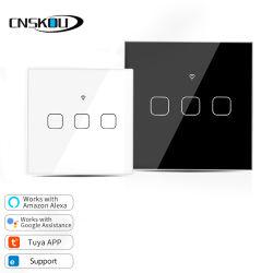 Cnskou Fabrikant UK Smart 3 gang 2-weg Touch Switch Glazen paneel van kristal