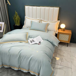 Casa de luxo sono Têxteis Cool 100% Roupa de cama de algodão Definir Lightgreen 3PCS