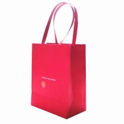 패션 퓨어 레드 맞춤형 고급 쇼핑 페이퍼 핸드백 향수 유리 병 축제 캔디 웨딩은 생일 파티 크리스마스 포장이 좋습니다 캐리어 백