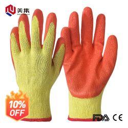 Point de Vente Vente chaude sécurité ondulée latex enduits 10 guage coton anti-patinage de chemise de la construction d'utiliser des gants de travail de la sécurité des échantillons gratuits couleur personnalisable