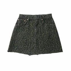 La mujer una falda de mezclilla de la línea de cintura alta Leopard mini falda