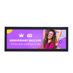 최신 판매 19/24/28 인치 바 유형 LCD 스크린 전시 기지개된 선반 스크린 광고 선수