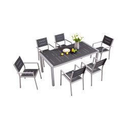 パティオアルミニウムテーブルとチェアセット屋外のプラスチックダイニング家具