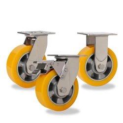 Orange en acier inoxydable de base en aluminium lourd Roulette de roue