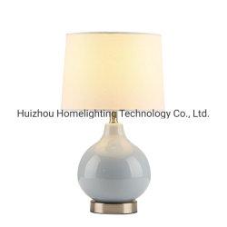 Jlt-4071 American Bleu Lampe de table en céramique avec tissu blanc de l'ombre