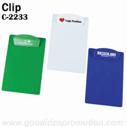Clip en plastique avec comité de rédaction de papier A4, cadeau promotionnel Clip en plastique
