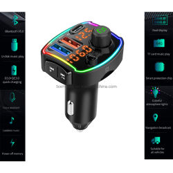 Bluetooth 차량용 FM 송신기 차량용 라디오 오디오 어댑터(QC 포함 PD 3.0 고속 충전 듀얼 USB