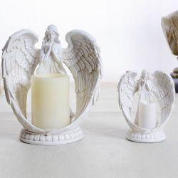 Portavelas Mayorista para la decoración del hogar de ángulo de resina blanca LED eléctrico Portavelas de cerámica