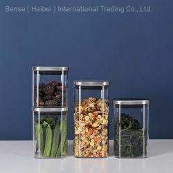 400 مل دورق زجاجي ذات ساحة بوروسيليكات عالية سعة قناني تخزين الطعام التوابل دورق من الفاكهة المجففة مع غطاء من الفولاذ المقاوم للصدأ