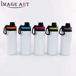Bottiglia di acqua di alluminio del grande della bocca spazio in bianco di sublimazione con il coperchio variopinto della maniglia per stampa di scambio di calore (5 colori)